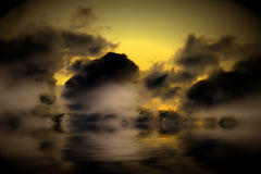 Grunge clouds reflected on water Stock Image