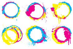Grunge CMYK circle collection. Grunge CMYK colored paint splatter circle collection Royalty Free Stock Image