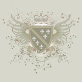 Grunge coat of arms with Fleur-de-lis Stock Photos