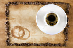 Grunge Coffee Frame with Coffee Stock Photo
