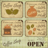 Grunge coffee labels in Retro style. On dirty background - illustration Royalty Free Stock Photos