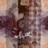 Grunge coffee pattern. Stock Photos