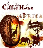 Grunge coffee poster with coffee grain, spots and African animal Royalty Free Stock Photography
