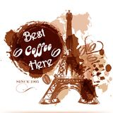Grunge coffee poster with Eiffel tower painted by coffee stylize Stock Photo