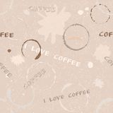 Grunge coffee seamless pattern with text Stock Images