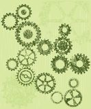 Grunge cogs / gears on a green background Royalty Free Stock Photos