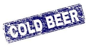 Grunge COLD BEER Framed Rounded Rectangle Stamp stock illustration