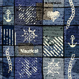 Grunge collage in nautical style. Royalty Free Stock Image