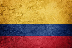 Grunge Colombia flag. Colombian flag with grunge texture. Grunge flag stock photography