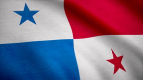 Grunge color background, flag of Panama. Close-up, fluttering downwind. stock photo