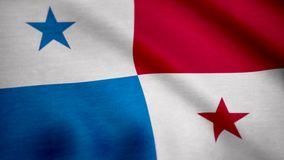 Grunge color background, flag of Panama. Close-up, fluttering downwind. vector illustration