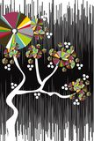 Grunge color disc cherry tree vector illustration