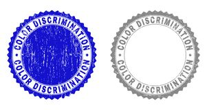 Grunge COLOR DISCRIMINATION Scratched Watermarks. Grunge COLOR DISCRIMINATION stamp seals isolated on a white background. Rosette seals with grunge texture in royalty free illustration