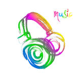 Grunge color light Headphones Royalty Free Stock Images