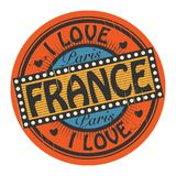 Grunge color stamp with text I Love France inside Stock Photo