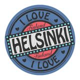 Grunge color stamp with text I Love Helsinki. Inside, vector illustration Stock Photography