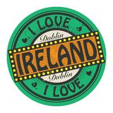 Grunge color stamp with text I Love Ireland inside Stock Photo