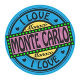 Grunge color stamp with text I Love Monte Carlo inside. Vector illustration stock illustration
