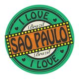 Grunge color stamp with text I Love Sao Paulo inside. Vector illustration Royalty Free Stock Images