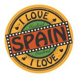 Grunge color stamp with text I Love Spain inside Royalty Free Stock Photo