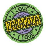 Grunge color stamp with text I Love Zaragoza inside. Vector illustration Stock Images