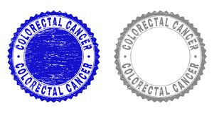Grunge COLORECTAL CANCER Textured Watermarks. Grunge COLORECTAL CANCER stamp seals isolated on a white background. Rosette seals with grunge texture in blue and stock illustration