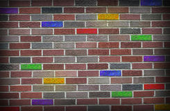 Grunge Colored Brick Wall Stock Photography
