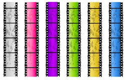 Grunge Colored Film Strip Borders. An illustration featuring your choice of 6 grunge colorful film strip borders Stock Photography
