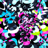 Grunge colored graffiti seamless pattern Royalty Free Stock Image
