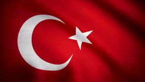 Grunge colorful background, flag of Turkey. Close-up, fluttering downwind. Flag of Turkey background.  stock video footage