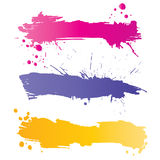 Grunge colorful banners. With inky splashes Stock Image