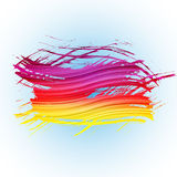 Grunge colorful brush stroke with stripes on light Stock Image