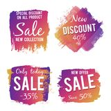 Grunge colorful discount and sale labels isolated on white background Stock Photography