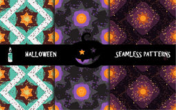 Grunge colorful halloween geometric seamless patterns Royalty Free Stock Photo