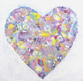 Grunge colorful heart in abstract style. Love art. Love art. Abstract spring painting heart. Holiday valentines card. Design elements. Retro, vintage, valentine stock illustration