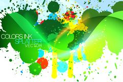 Grunge colorful ink splatter background Royalty Free Stock Photos