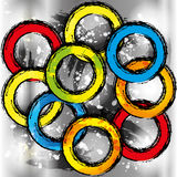 Grunge colorful rainbow circles seamless Stock Photos