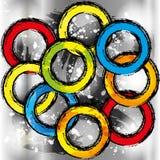 Grunge colorful rainbow circles seamless vector illustration