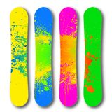 Grunge colorful snowboard set. Vector Stock Photography