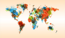 Grunge colorful world map Stock Photography