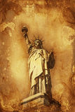 Grunge colorful yellow and brown Statue of Liberty Royalty Free Stock Image