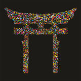 Grunge colourful religious japanese Shinto symbol Royalty Free Stock Photo