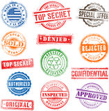 Grunge Commercial Stamps. Collection of 13 Hi detail commercial grunge multicolored stamps vector illustration