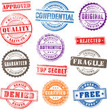 Grunge Commercial Stamps. Collection of 13 Hi detail commercial grunge multicolored stamps stock illustration