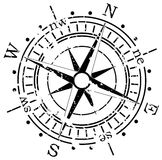 Grunge compass. Background illustration of grunge compass