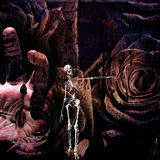 Grunge Composition. With Skeletal figure, time, human hand and roses Stock Photos