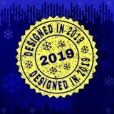 Grunge CONÇU EN 2019 emboutissent le joint sur le fond d'hiver illustration libre de droits