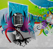 Grunge concert poster. Vector grunge concert poster with microphone Royalty Free Stock Photography