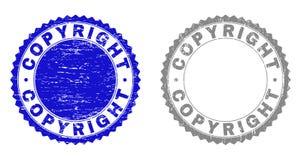 Grunge COPYRIGHT skrapade stämpelskyddsremsor stock illustrationer