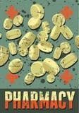 Τυπογραφική αναδρομική αφίσα φαρμακείων grunge επίσης corel σύρετε το διάνυσμα απεικόνισης Στοκ εικόνα με δικαίωμα ελεύθερης χρήσης